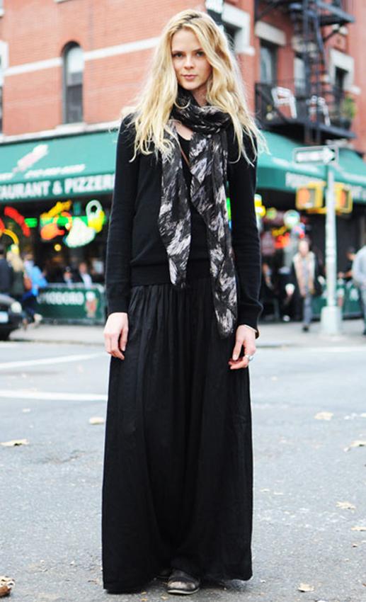 Maxi dress winter look meme